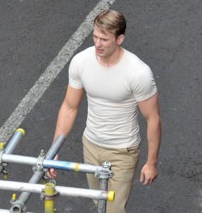 Chris Evans sul set di Captain America
