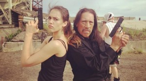 Jessica Alba e Danny Trejo sul set di Machete Kills