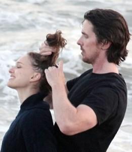 Christian Bale e Natalie Portman sul set di Knight of Cups