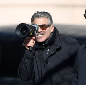 George Clooney e Matt Damon sul set di The Monuments Men