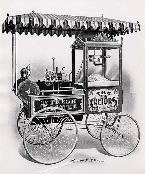 La macchina per i pop-corn realizzata da Charles Cretors nel 1893
