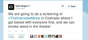 Seth Rogen invita il pubblico a fumare marijuana con lui a Denver