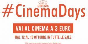 Dal 12 al 15 ottobre si andrà al cinema con 3 euro