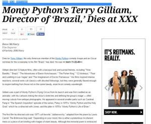 """Variety pubblica erroneamente il """"coccodrillo"""" di Terry Gilliam annunciandone la morte"""