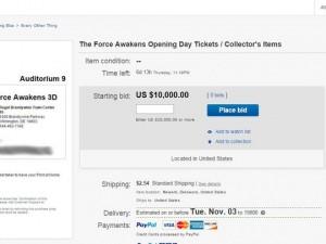 Star Wars – Il risveglio della forza, biglietti a 10mila dollari su eBay