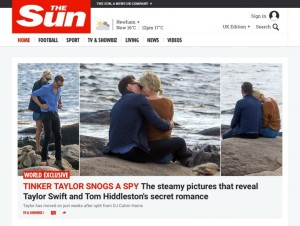 Il bacio tra Taylor Swift e Tom Hiddleston