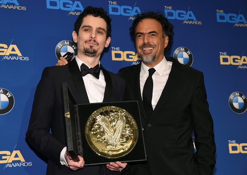 Damien Chazelle and Alejandro G. Inarritu attend the 69th annual DGA Awards in Beverly Hills, California